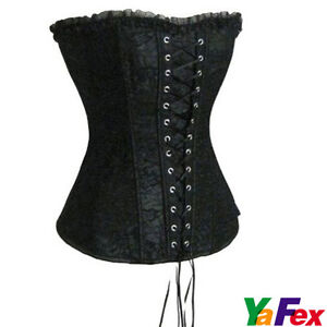 2012-New-Sexy-Womens-Satin-Boned-Lace-Up-Corset-Bustier-G-String-5Colors
