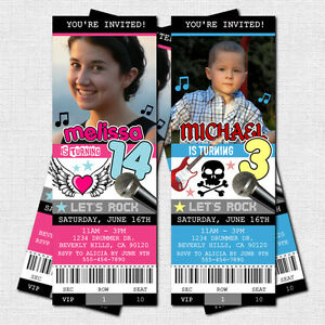 ... Personalized ROCK STAR CONCERT TICKET Birthday Party Invitations   Concert Ticket Birthday Invitations