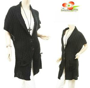 BLACK Women Outerwear Wool Knit Cable Ribbed Trench Cardigan ...