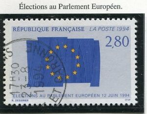 TIMBRE-FRANCE-OBLITERE-N-2860-PARLEMENT-EUROPEEN-Photo-non-contractuelle