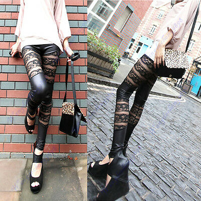Hot  Women Sexy Lace Stripe Leatherette Stretchy Tights Legging Pants