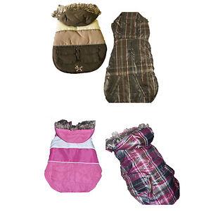 New-York-Dog-Reversible-Dog-Ski-Coat-Jacket-W-fur-Trim-Pink-or-Brown