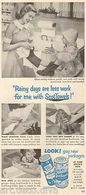 1950s vintage SCOTT Paper TOWEL Gay New Packages! KITCHEN Raincoat BLUE Retro Ad