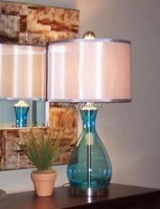 Gorgeous Turquoise Aqua Blue Table Lamp Mouth Blown Glass