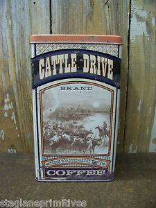 Vintage-Look-Tin-034-Cattle-Drive-Coffee-034-Canister-Food-Safe-Stag-Lane-Primitives