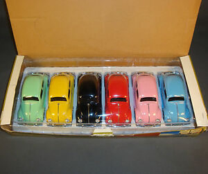 COMPETE-SET-OF-6-SUPERIOR-SUNNYSIDE-DIECAST-VOLKSWAGON-BEETLES-in-DEALER-BOX
