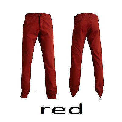 MENS SLIM FIT TWILL CHINOS JEANS BLACK KHAKI BLUE GREY CHARCOAL SAND MUSTARD RED
