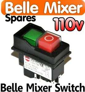 Belle-Cement-Concrete-Mixer-110v-ON-OFF-Switch-Minimix-150-Spares-Parts-Electric