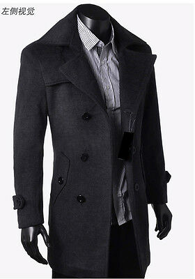 Men's Wool Coat Winter Trench Coat Outear Overcoat Long Jacket Dark gray Parka