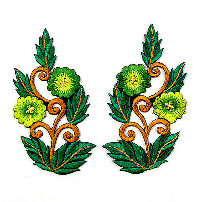 I0608 x1Pair(2pcs) Green Vintage Sew/Iron On Patch Bouquet Embroidered Bouquet