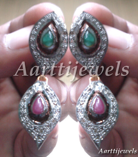 Victorian 1.01ct Rose Cut Diamond Emerald Ruby Earrings Thanks Giving Day