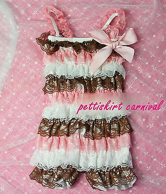 Newborn Baby Girls Pink Brown White Lace Petti Rompers Romper Strap Bow NB-3T