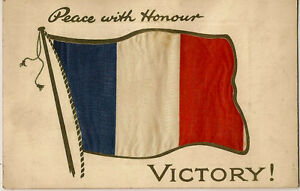 PRINTED-SILK-Patriotic-French-Flag-Peace-with-Honour-VICTORY