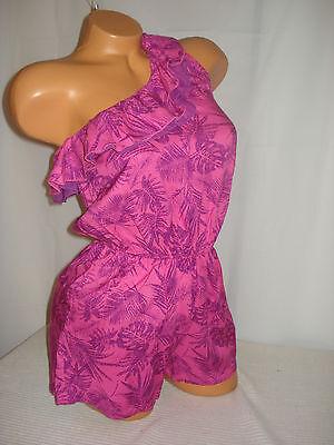 Selena Gomez Juniors Romper One Shoulder Sexy Pink Purple Leaves Shorts S M L XL