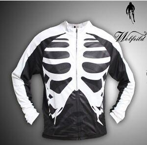 Mens-Long-Sleeve-Bones-Cycling-Jersey-Bicycle-Skeleton-Shirt-Cycle-Wear-M-3XL