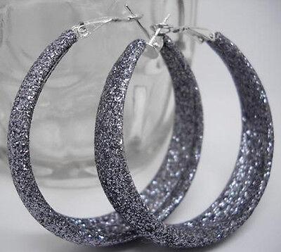 E1036 grey dull polish circle elegant new hoop earrings hot sell jewelry
