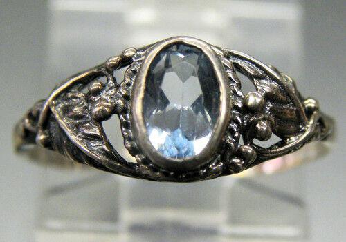 Vintage Antique Estate~Sky Blue Topaz 925 Sterling Silver Ornate Detail Ring 8