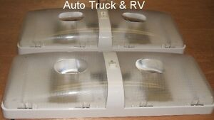 2 Rv Double Dome 12 Volt Ceiling Lights On Off Switch Camper Travel Trailer Boat Ebay