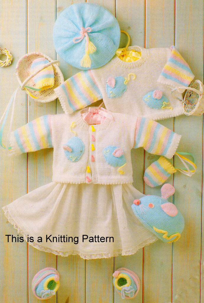 Babys Mouse Layette Sweater Cardiganberetmittstrainers Toy