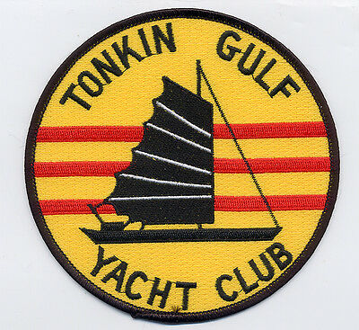 Tonkin Gulf Yacht Club - 5 inch round, yellow, red, black BC Patch Cat No B960