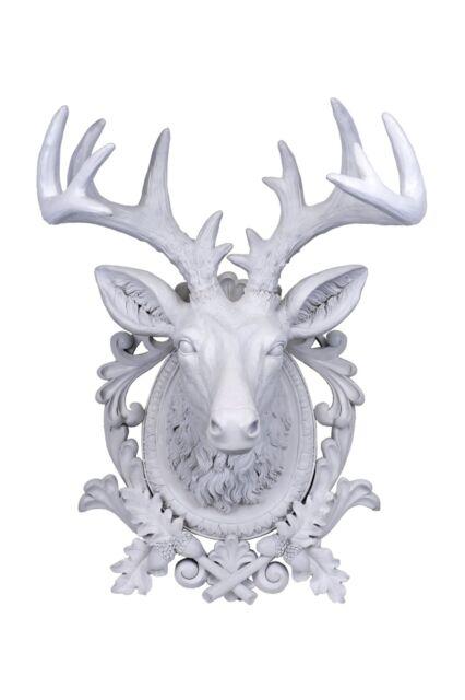Home Company Aspen Large Antler Deer Head  Wall Decor Large White Gift Idea