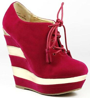 Two Tone Fuchsia Pink Platform Round Toe Lace Up Wedge Boot Dollhouse Glamour