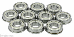 10-Slot-Car-Flanged-1-8-034-x-1-4-034-inch-Miniature-Ball-Shielded-Radial-Ball-Bearings