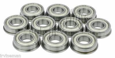 "Lot of 10 Flanged 1/8"" Slot Car Axle/Wheel/Metal Ball Bearings w/Flange Sealed"