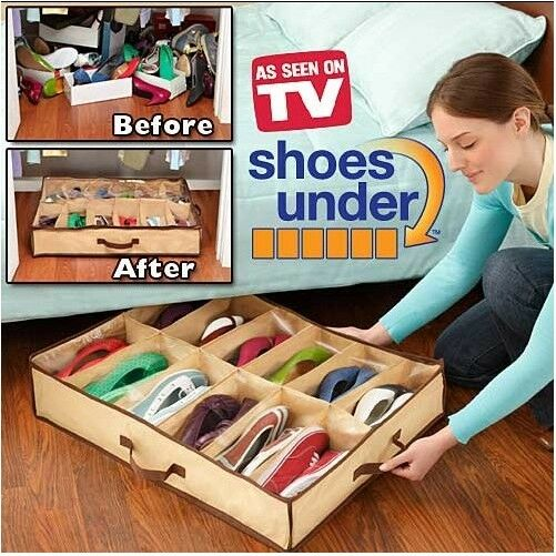 12Pairs Shoes Organizer Holder Fabric Bag Intake Under Bed/Closet Storage Box