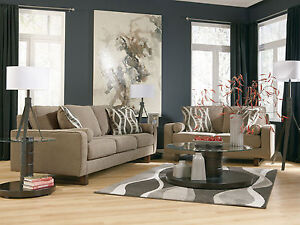 Blair Contemporary Gray Chenille Sofa Couch Loveseat Set Living Room Furniture Ebay