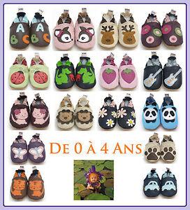 CHAUSSONS-BEBE-CUIR-SOUPLE-De-0-a-4-Ans-chaussons-enfant-100-cuir