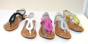 New-Women-T-Strap-Gladiator-Flats-Sandals-Flip-Flops-Shoes-Size