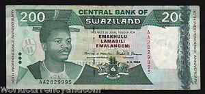SWAZILAND-200-P28-1998-COMMEMORATIVE-KING-ELEPHANT-LION-USED-AFRICA-NOTE