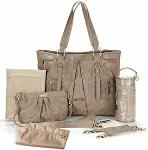 Timi-Leslie-Faux-Leather-Baby-Diaper-Bag-Dawn-Taupe-NEW-TL-218-01TP