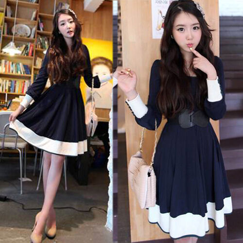 Korean Style Long-Sleeve White Cuff Women's Clothing Casual Mini Dress With Belt