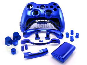 Xbox-360-CHROME-BLUE-Full-Controller-shell-case-housing-with-matching-buttons