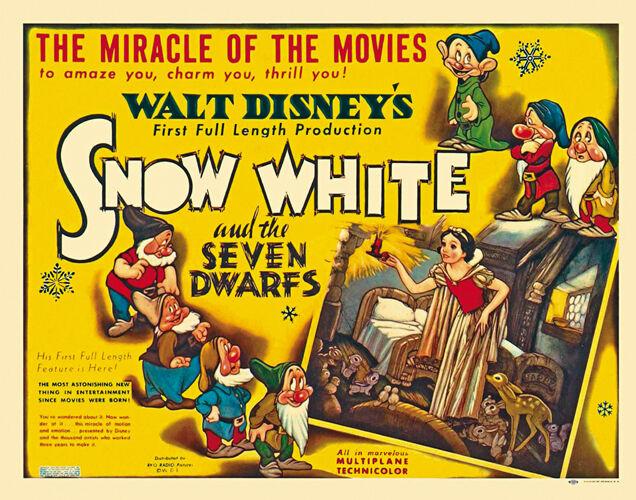 Snow White and the Seven Dwarfs (1937) Disney cartoon movie poster print  10