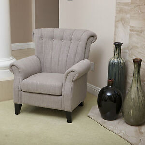 Set-of-2-Elegant-Design-Linen-Upholstered-Armchairs-w-Tufted-Backrests