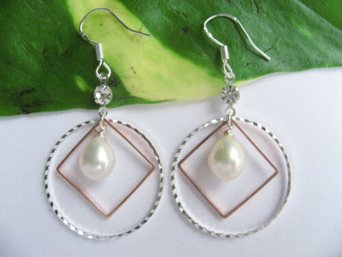 925 Stamped Silver Cultured Freshwater Pearl Round Square Hoops Drop Earrings