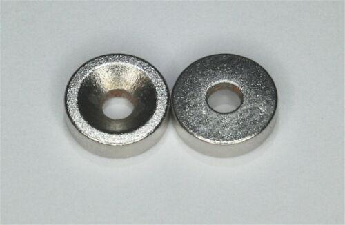 10x Magnete Neodym-Scheiben 10mm x 3mm mit Loch für Senkschrauben NdFeB N35 rund