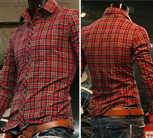 Men's Casual Tops Slim Fit Shirts Long Sleeve Polo Plaid T-Shirt 4 Size S M L XL