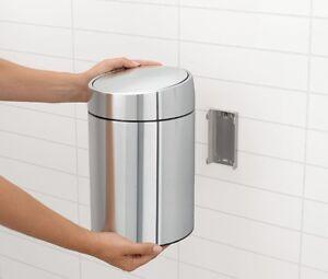 brabantia slide bin 5 bad mülleimer chrom wandhalterung rostfrei, Badezimmer