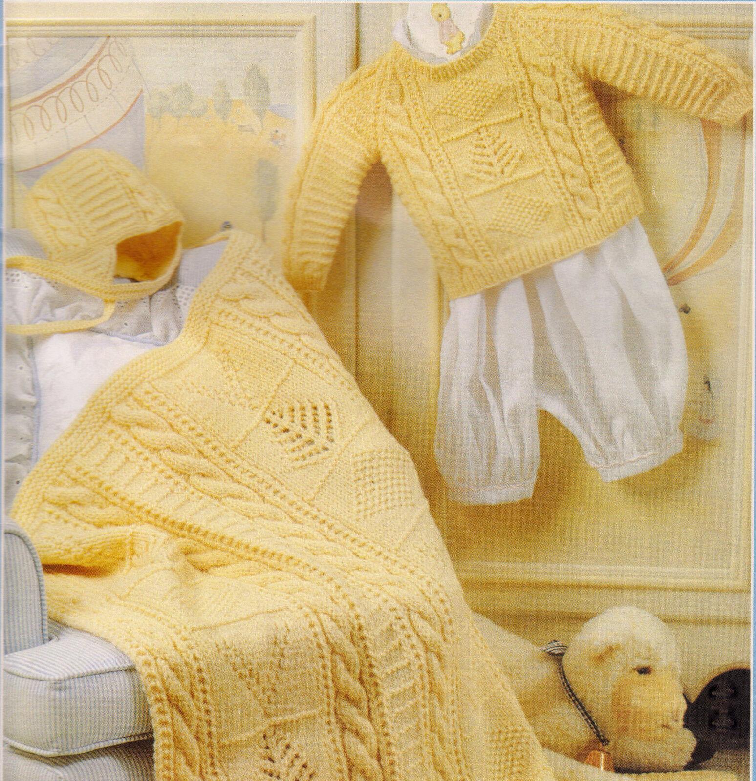Aran Style Cable Fir Tree Textured Diamond Baby Blanket