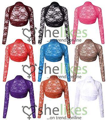 Womens Long Sleeve Shrug Top Ladies Flower Lace Bolero Cardigan Shrug Top