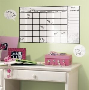 calendar wall stickers 7 decals home office college dorm dry erase room decor ebay. Black Bedroom Furniture Sets. Home Design Ideas