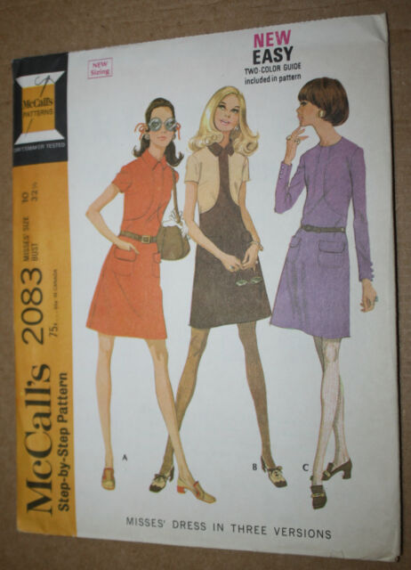 1960's VINTAGE SEWING PATTERN McCALL'S 2083 MISSES' DRESS IN 3 VERSIONS SIZE 10
