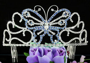 Bridal Pageant Blue Butterfly Tiara Prom Accessory Beauty Contest Crystal AT1537