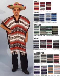 Mexican poncho adult mens western cowboys costume poncho serape blanet