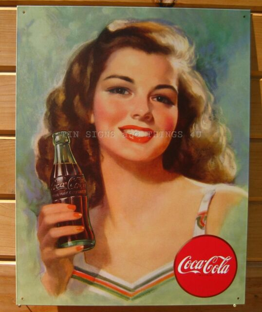 Coca Cola Beautiful Brunette TIN SIGN vintage reproduction metal wall decor 1227