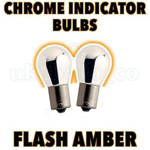 CHROME-SILVER-581-BAU15S-21W-AMBER-INDICATOR-BULBS-PAIR